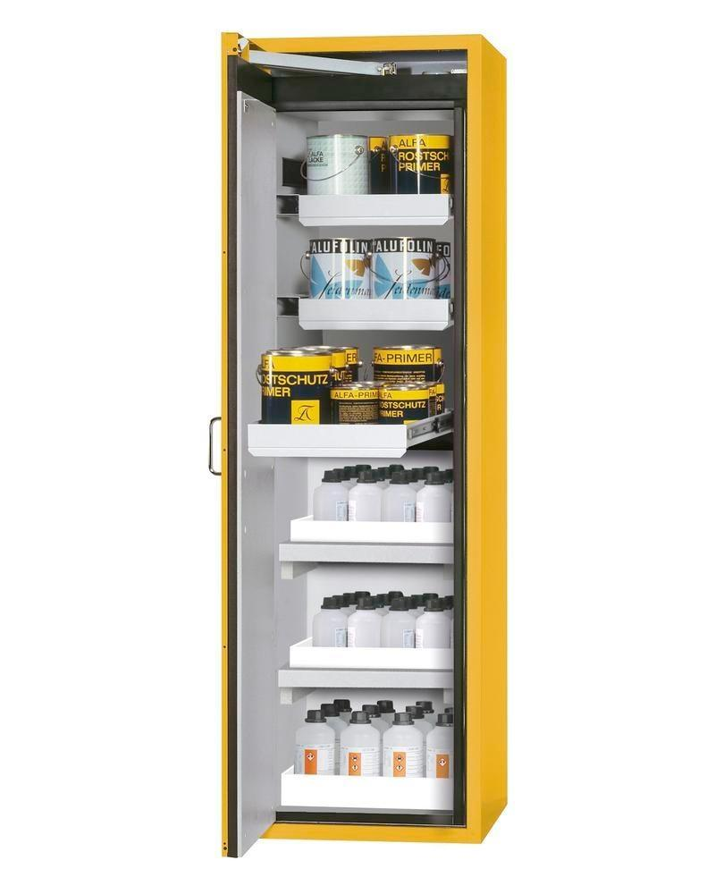 asecos fire-rated hazmat cabinet Edition with slide out shelves and spill trays, yellow, W 596 mm