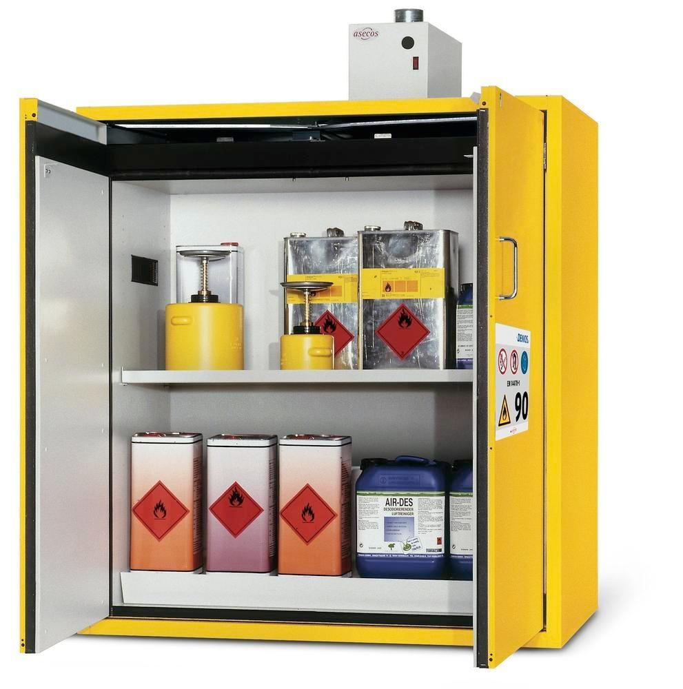 """asecos fire-rated hazmat cabinet G 1200-FP """"one touch"""", with wing doors, yellow"""