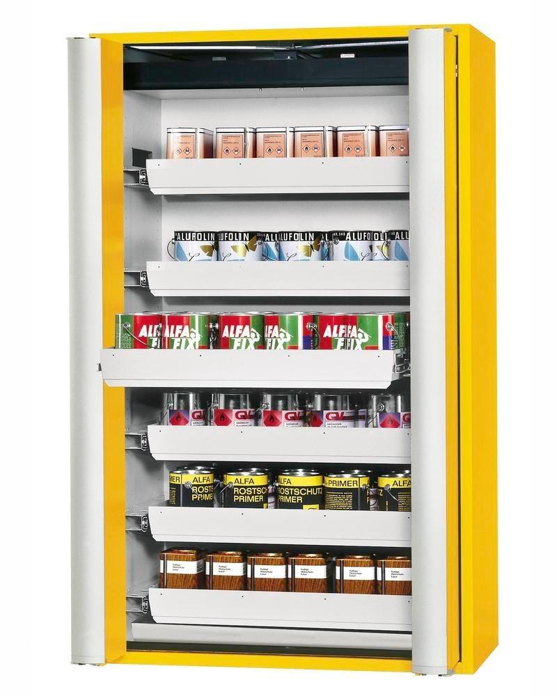 """asecos fire-rated hazmat cabinet GF 1201.6 """"one touch"""", 6 slide-out spill trays, yellow"""