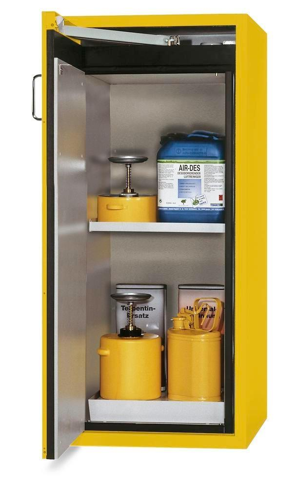 """asecos fire-rated hazmat cabinet """"one touch"""", 1 shelf, door hinged left, yellow"""