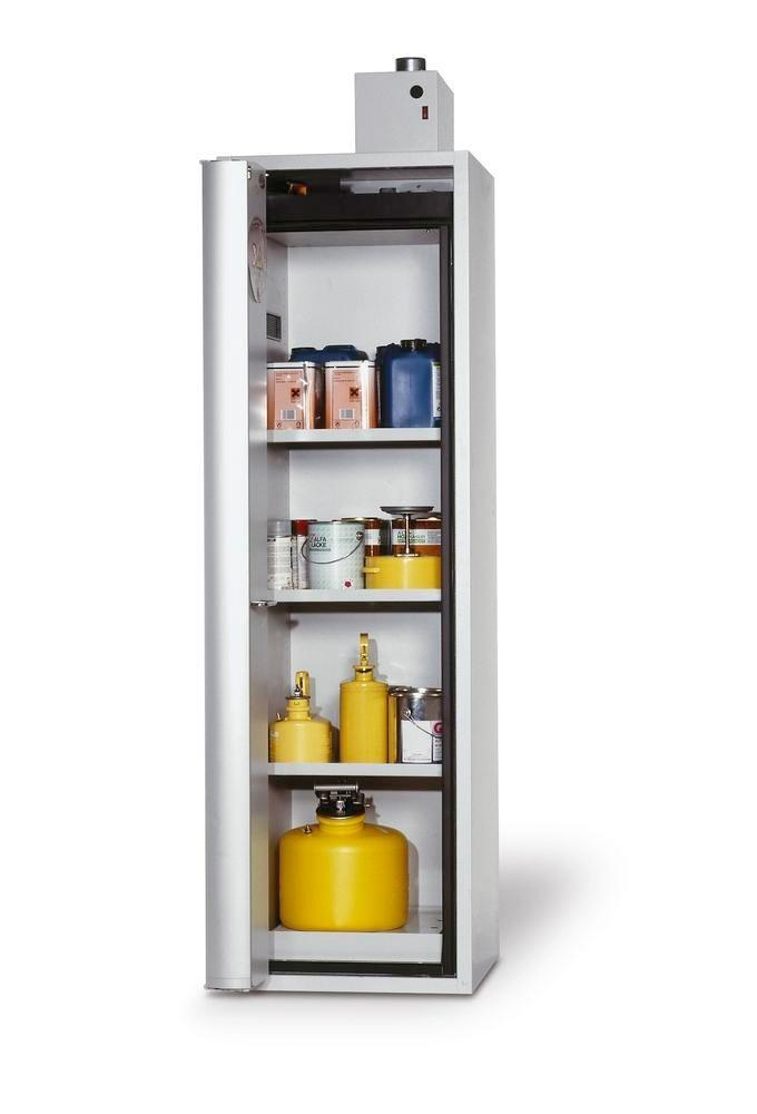 """asecos fire-rated hazmat cabinet """"one touch"""", 3 shelves, door hinged left, grey"""