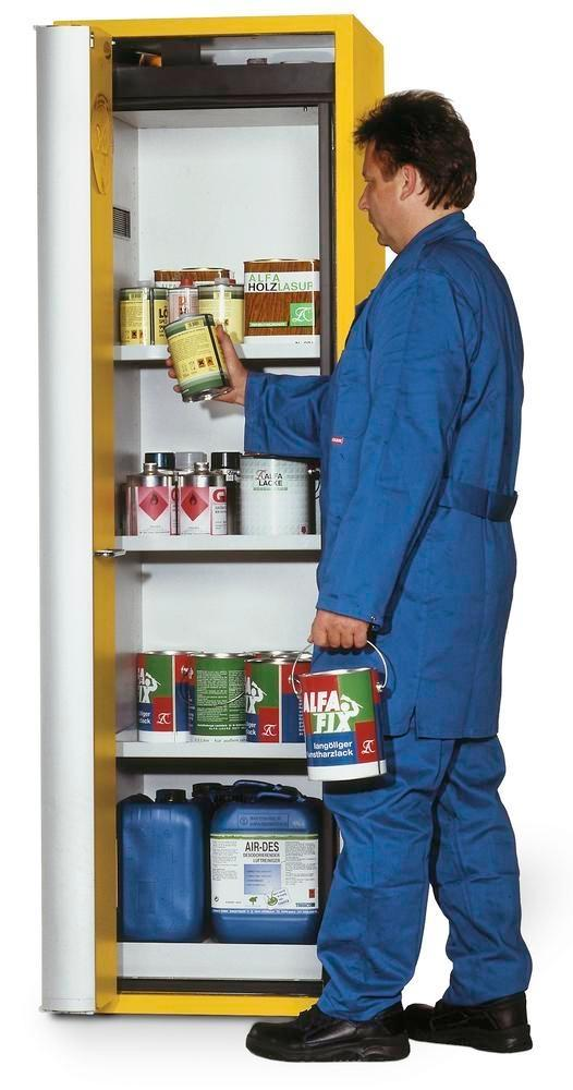 """asecos fire-rated hazmat cabinet """"one touch"""", 3 shelves, door hinged right, yellow"""