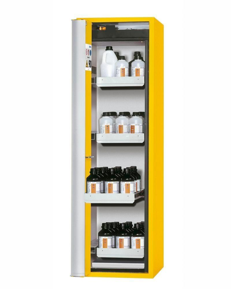 """asecos fire-rated hazmat cabinet """"one touch"""", 4 slide-out spill trays, door hinged left, yellow"""