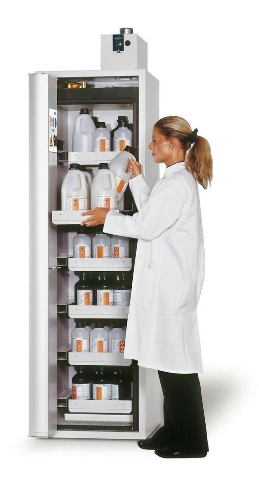"""asecos fire-rated hazmat cabinet """"one touch"""", 6 slide-out spill trays, door hinged right, grey"""