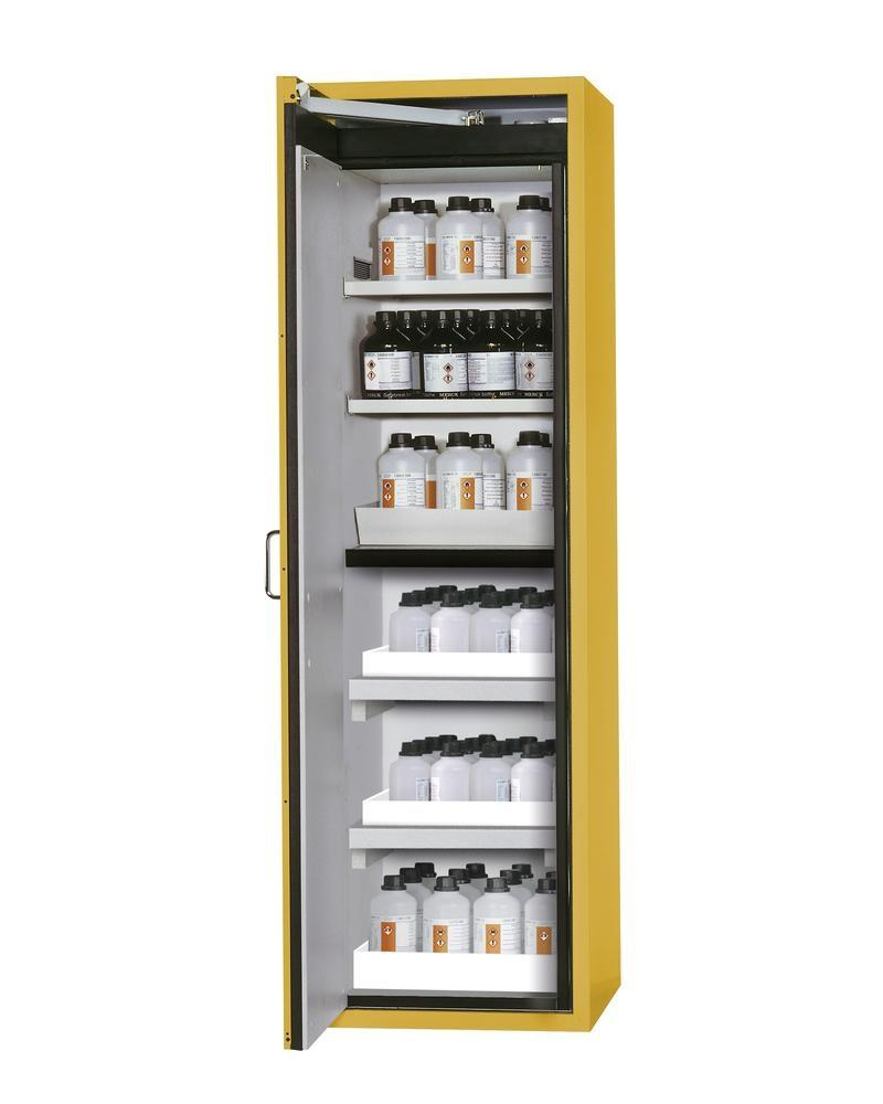 asecos fire-rated hazmat cabinet, shelves and spill trays, floor spill pallets, yellow, W 596 mm