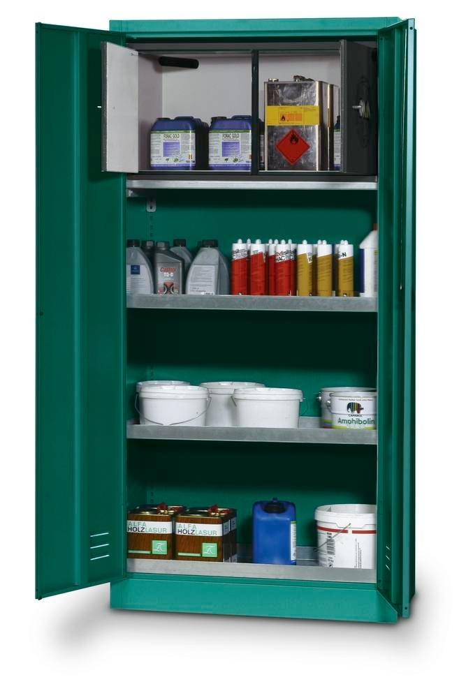 asecos pesticides storage cabinet PSM 19 w 1 spill pallet per Stawa-R, 2 spill trays and safety box