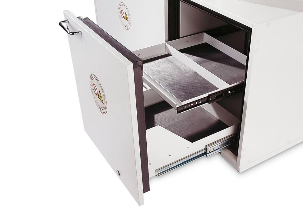 asecos second pull-out shelf, coated, for hazmat underbench cabinets GU-A-90