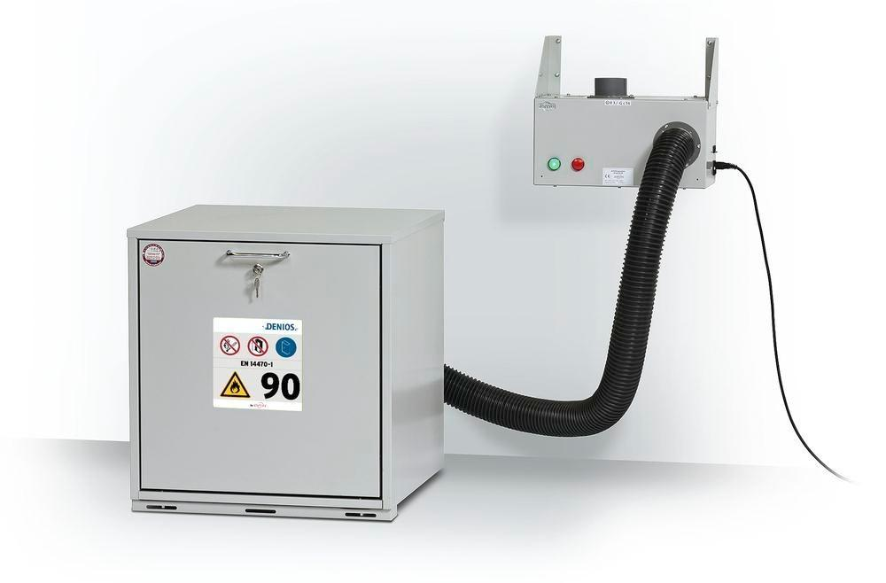 asecos ventilation attachment for underbench cabinets with monitoring for wall mounting