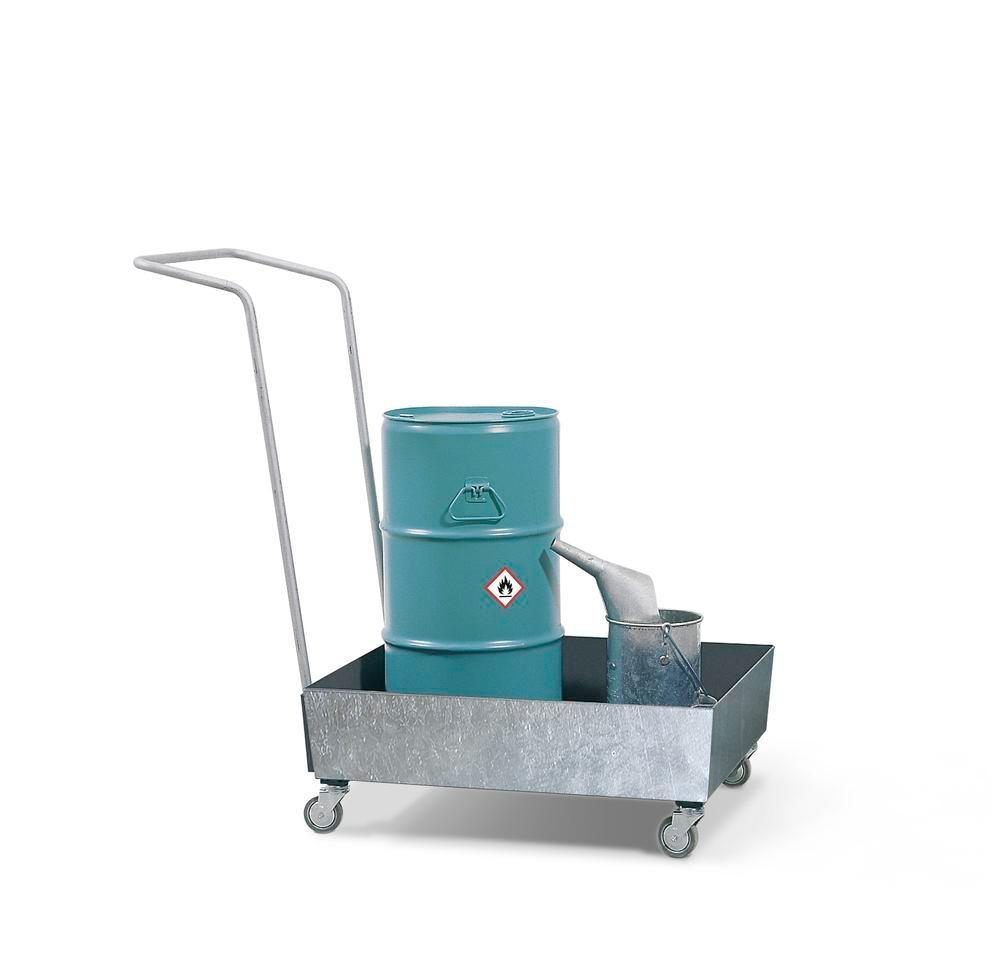 Bunded steel drum trolley, galvanized, anti-static wheels, for 1x60 litre drum, 60 litre capacity