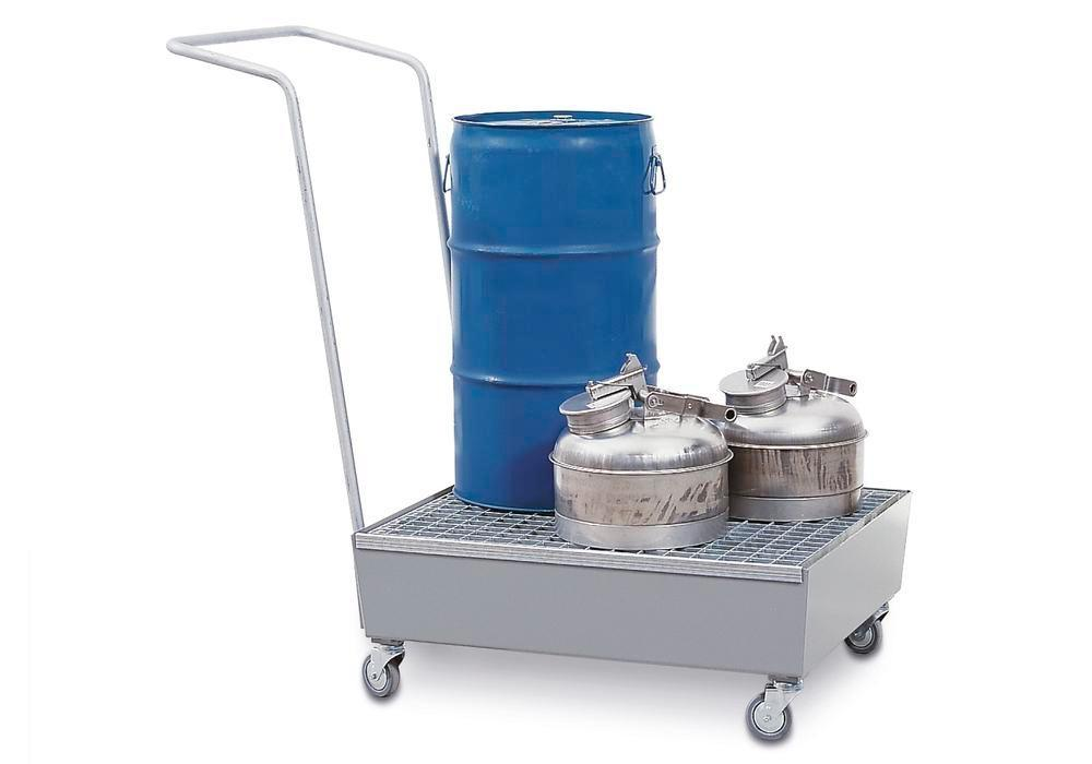 Bunded steel drum trolley, galvanized, anti-static wheels, for 2x60 litre drums, 60 litre capacity