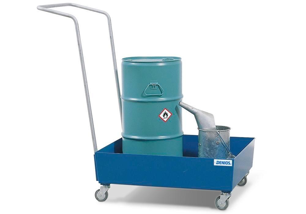 Bunded steel drum trolley, painted, polyamide wheels, for 1x60 litre drum, 60 litre capacity