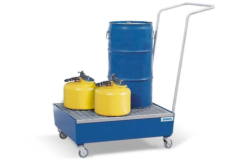 Bunded steel drum trolley, painted, polyamide wheels, for 2x60 litre drums, 60 litre capacity