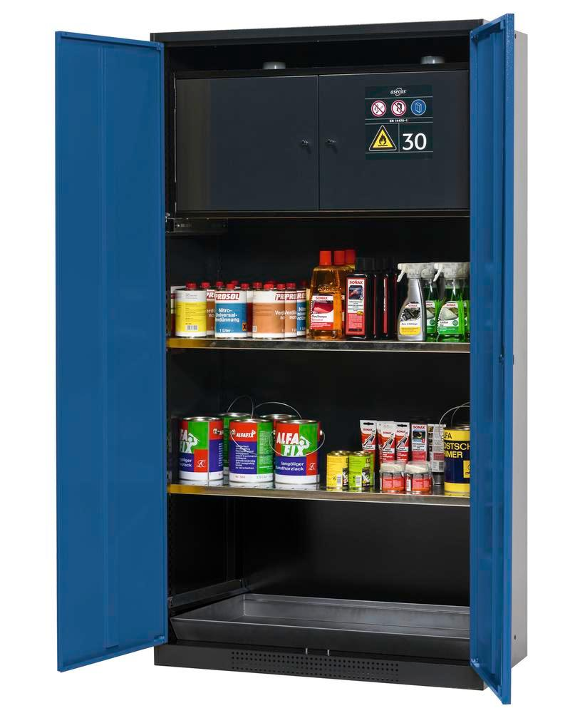 Chemicals cabinet Systema-Plus, anthracite, blue, with safety box and shelves, Type CS-30