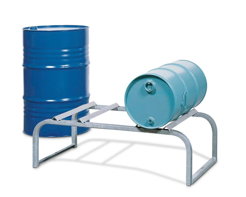 Drum mount FB 2, galvanized steel, ffor horizontal drum storage, for up to 2x205 litre drums - 1