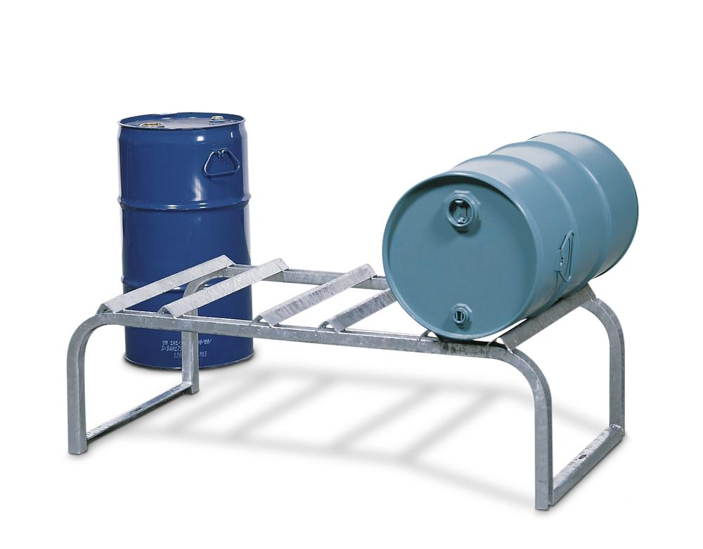 Drum mount FB 3, galvanized steel, ffor horizontal drum storage, for up to 3x205 litre drums