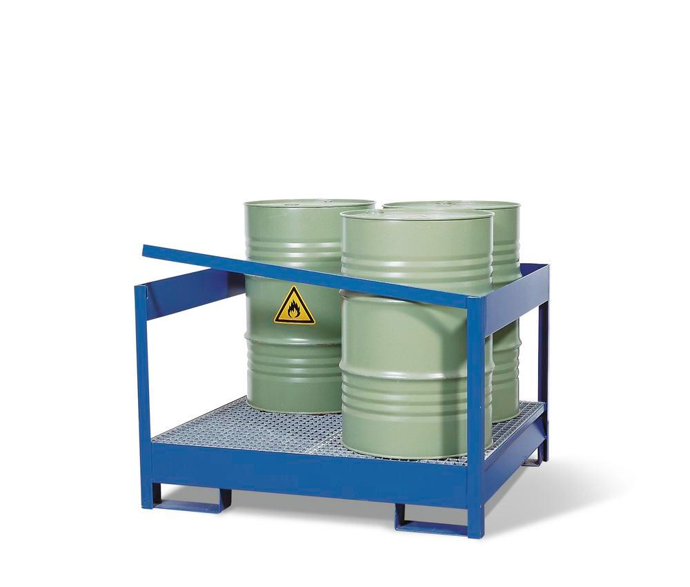 Drum storage unit 4 P2-P, painted steel, non-stackable, for 4x205 litre drums