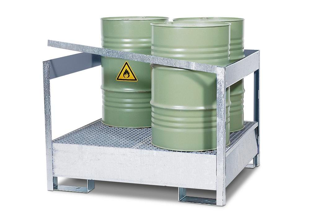 Drum storage unit 4 P2-P-V50, galvanized steel, non-stackable, for 4x205 litre drums - 1