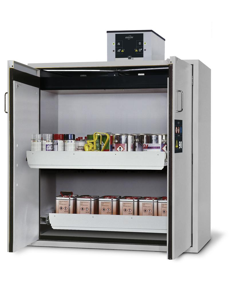 Fire rated haz. mat. cabinet Edition, with 2 slide-out sumps, grey wing doors, One-Touch, Type G 122 - 1