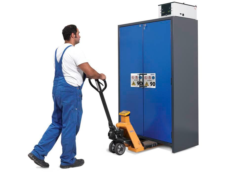 """Fire-rated hazard materials cabinet Select W-124-O """"one touch"""", 4 slide-out spill trays, doors blue"""