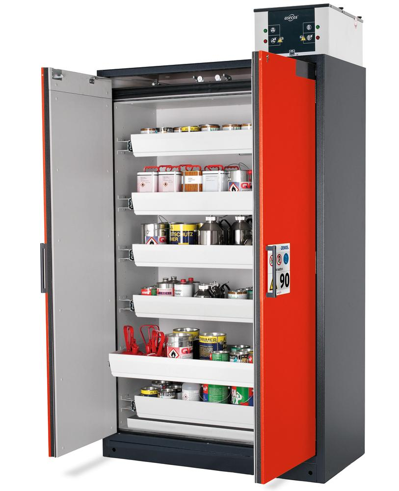 "Fire-rated hazard materials cabinet Select W-126-O ""one touch"", 6 slide-out spill trays, doors red - 1"