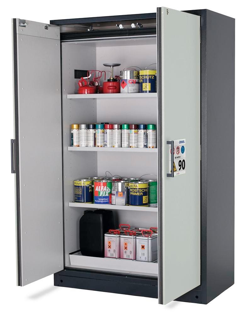 "Fire-rated hazardous materials cabinet Select W-123-O ""one touch"", 3 shelves, doors grey"