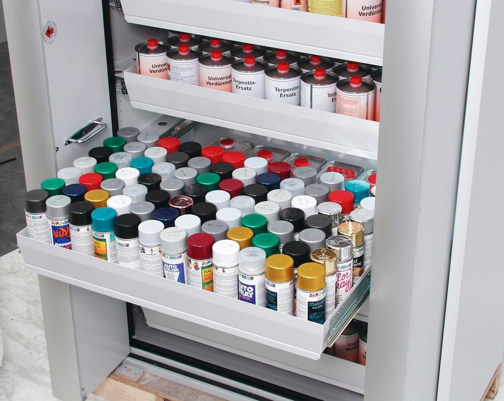 Fire-rated hazardous materials cabinet Select W-126, 6 slide-out spill trays, doors white