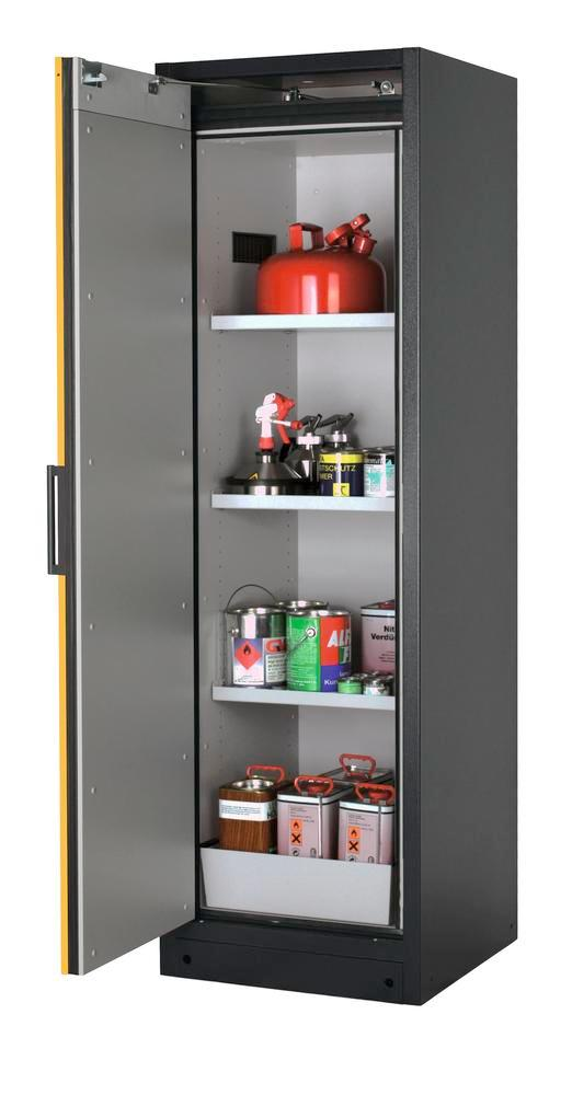 Fire-rated hazardous materials cabinet Select W-63L, 3 shelves, door yellow (left)