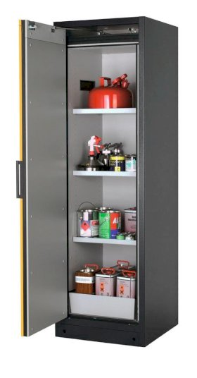 Fire-rated hazardous materials cabinet Select W-63L, 3 shelves, door yellow (left)-w280px