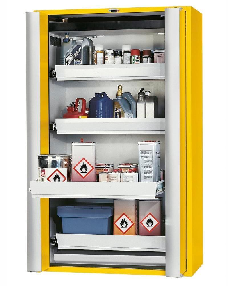 "Fire-rated HazMat cabinet GF 1201.4 ""one touch"", 4 slide-out spill trays, yellow"