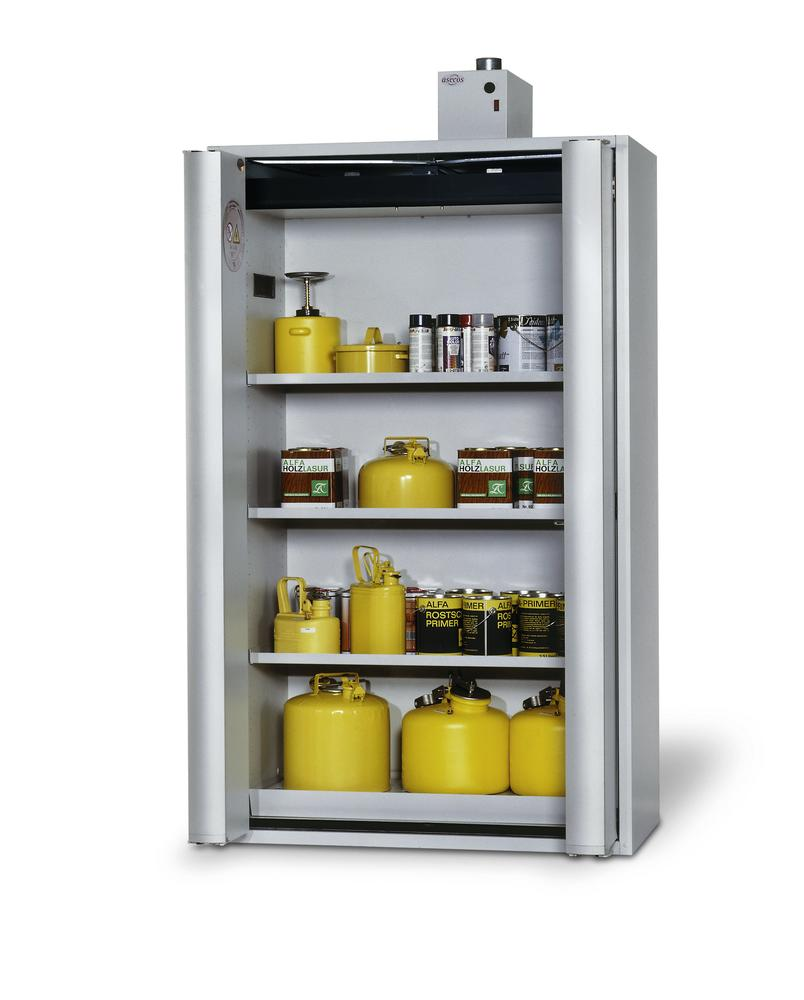 "Fire-rated HazMat cabinet GF 1201 ""one touch"", 3 shelves, grey - 1"