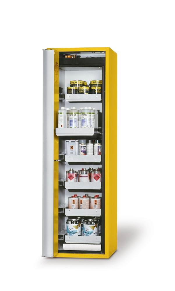 """Fire-rated HazMat cabinet GF-601.6 """"one touch"""", 6 slide-out spill trays, door opens left, yellow"""