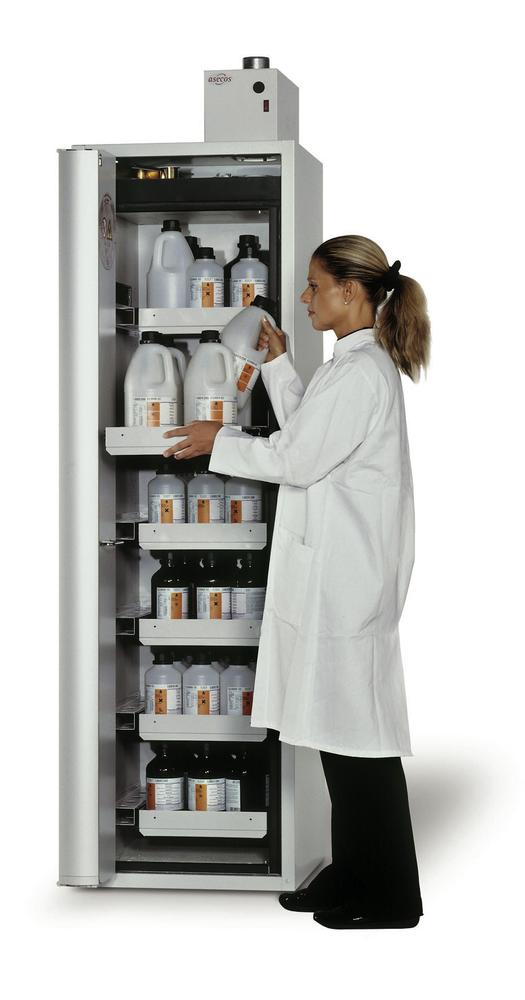 """Fire-rated HazMat cabinet GF-601,6""""one touch"""", 6 slide-out spill trays, door opens right grey - 1"""
