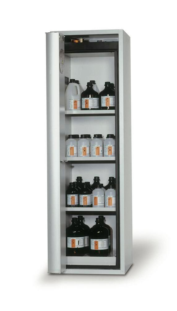 """Fire-rated HazMat cabinet GF-601 """"one touch"""", 3 shelves, door opens right, grey"""
