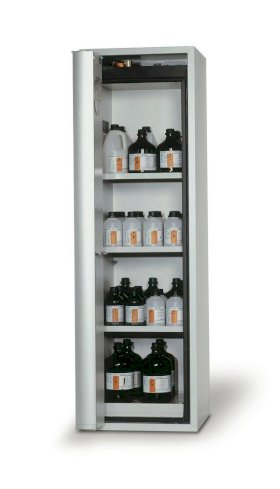 "Fire-rated HazMat cabinet GF-601 ""one touch"", 3 shelves, door opens right, grey-w280px"