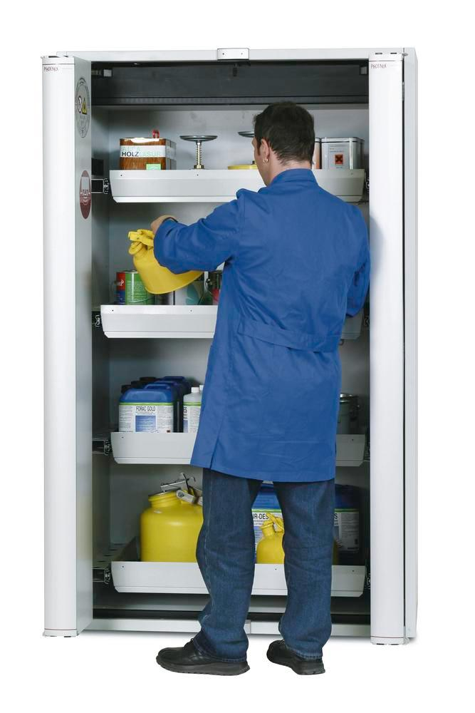 """Fire rated hazmat cabinet GT 1200-4 """"touch-less"""", 4 slide-out spill pallets, 2 doors, grey"""