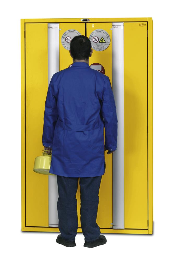 """Fire-rated hazmat cabinet GT 1200-4 """"touch-less"""", 4 slide-out spill pallets, 2 doors, yellow - 3"""