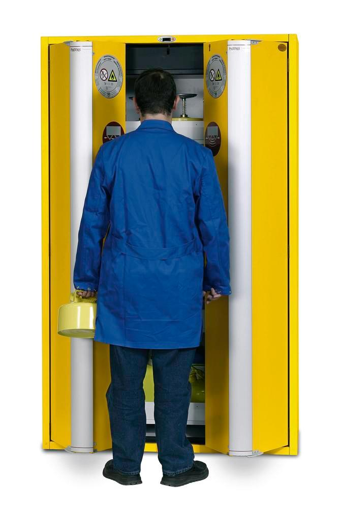 """Fire-rated hazmat cabinet GT 1200-4 """"touch-less"""", 4 slide-out spill pallets, 2 doors, yellow"""