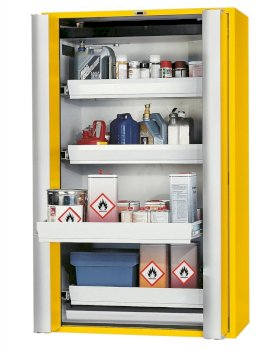 "Fire-rated hazmat cabinet GT 1200-4 ""touch-less"", 4 slide-out spill pallets, 2 doors, yellow-w280px"