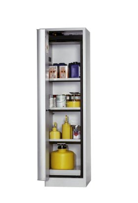 "Fire-rated hazmat cabinet GT 600-6 ""touch-less"", 6 slide-out spill pallets, door opens left, grey-w280px"