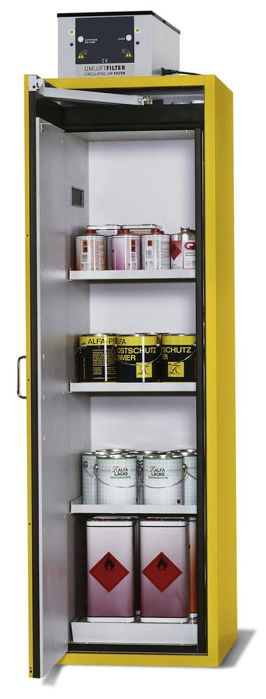 "Fire-rated hazmat cabinet GT 600-E, ""touch-less"", shelves, door opens left, yellow"