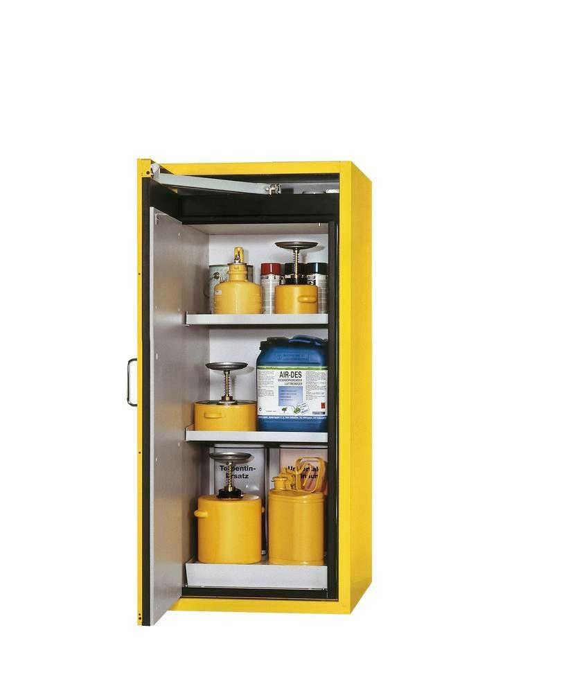 Fire-resistant hazardous material cabinet G 600-F, door opening left, yellow