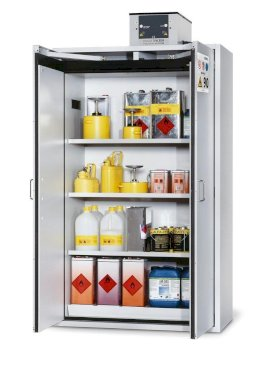 Fire Resistant Safety Cabinet G-1201, grey, including 3 shelves, perforated insert & spill tray-w280px