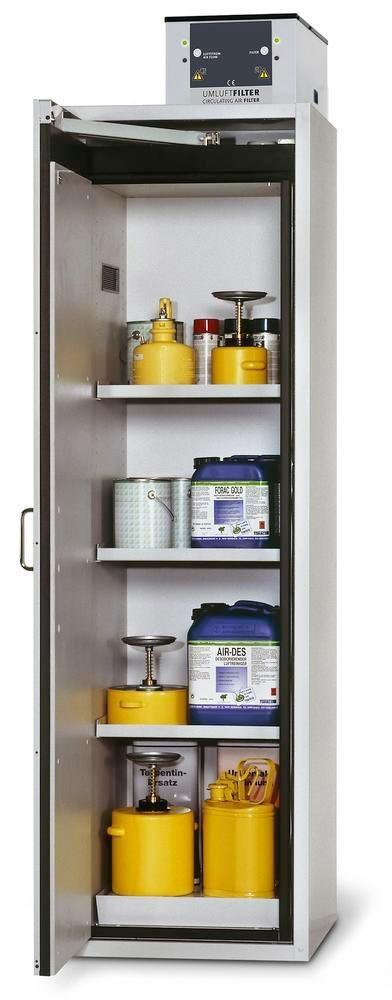 Fire Resistant Safety Cabinet G-601, grey, left hinged door, 3 shelves, insert & spill tray