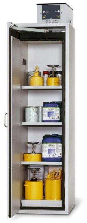 Fire Resistant Safety Cabinet G-601, grey, left hinged door, 3 shelves, insert & spill tray-w280px