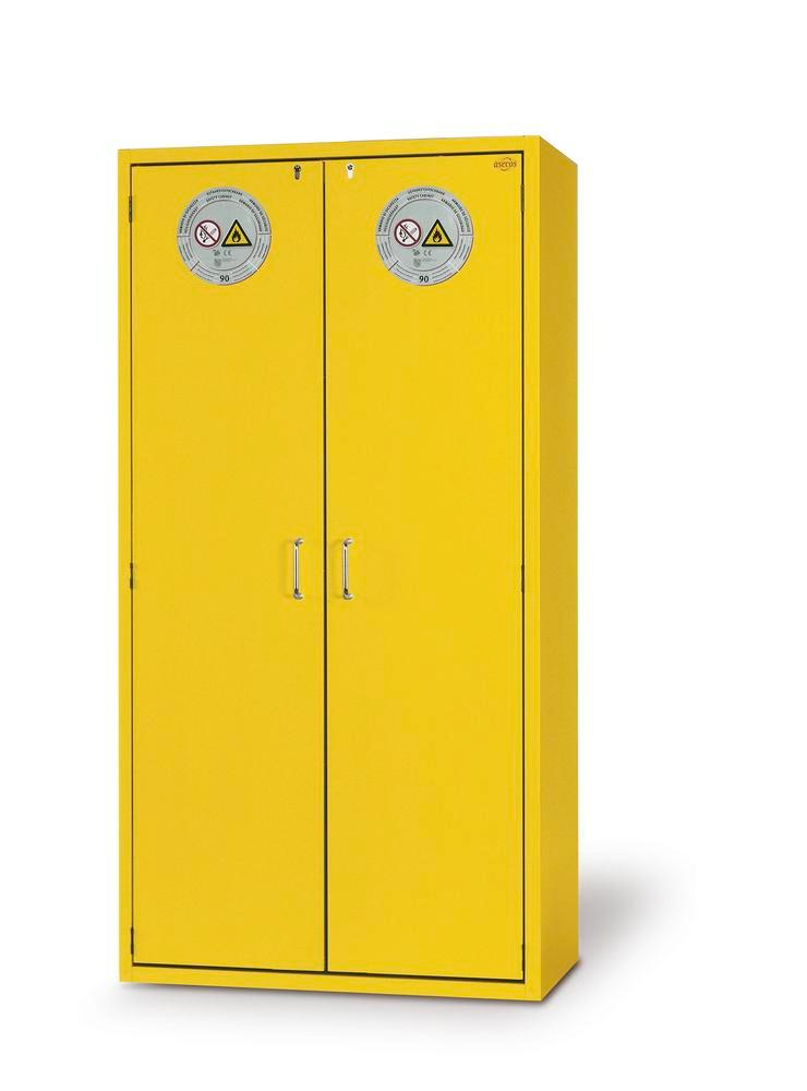 Fire Resistant Safety Cabinet G-901, yellow, including 3 shelves, perforated insert & spill tray - 1