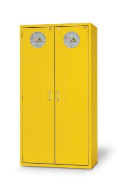 Fire Resistant Safety Cabinet G-901, yellow, including 3 shelves, perforated insert & spill tray-w280px