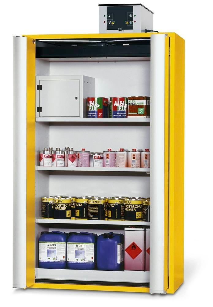 Fire Resistant Safety Cabinet GF 1201.4, yellow, 2 folding doors, 3 shelves, insert & 1 spill tray