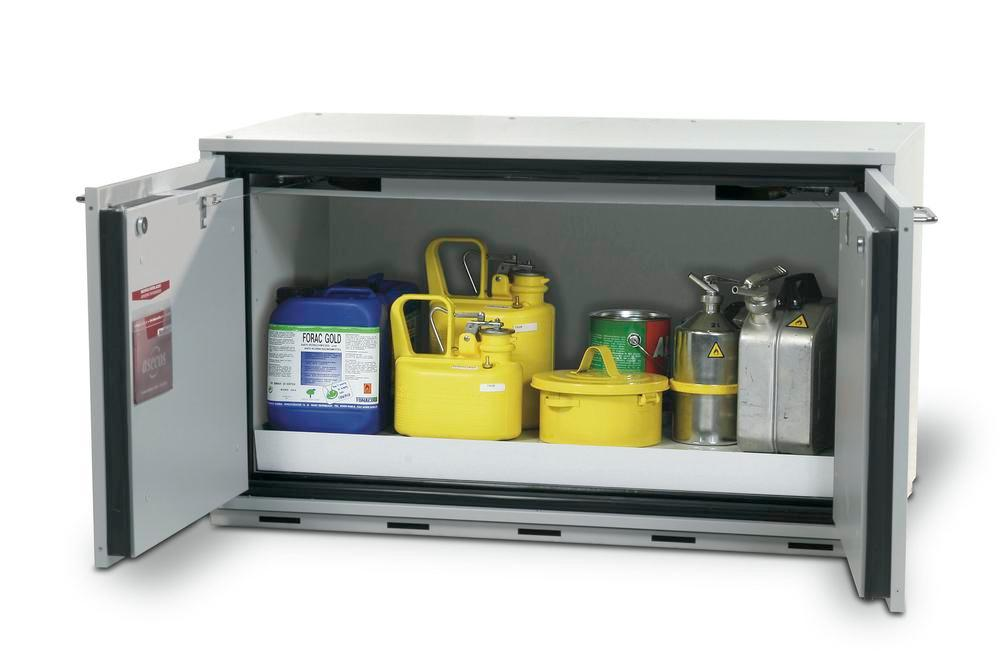 Fire-resistant underbench cabinet for hazardous material GU 112, with 1 base sump pallet, grey