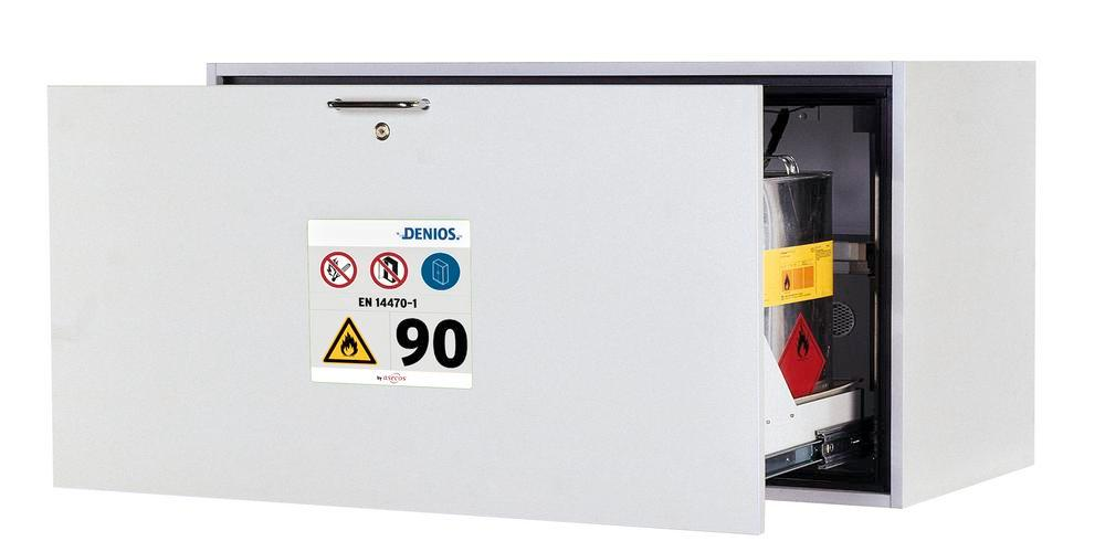Fire-resistant underbench cabinet GU.T 110, type 90, with 1 sliding sump pallet, grey