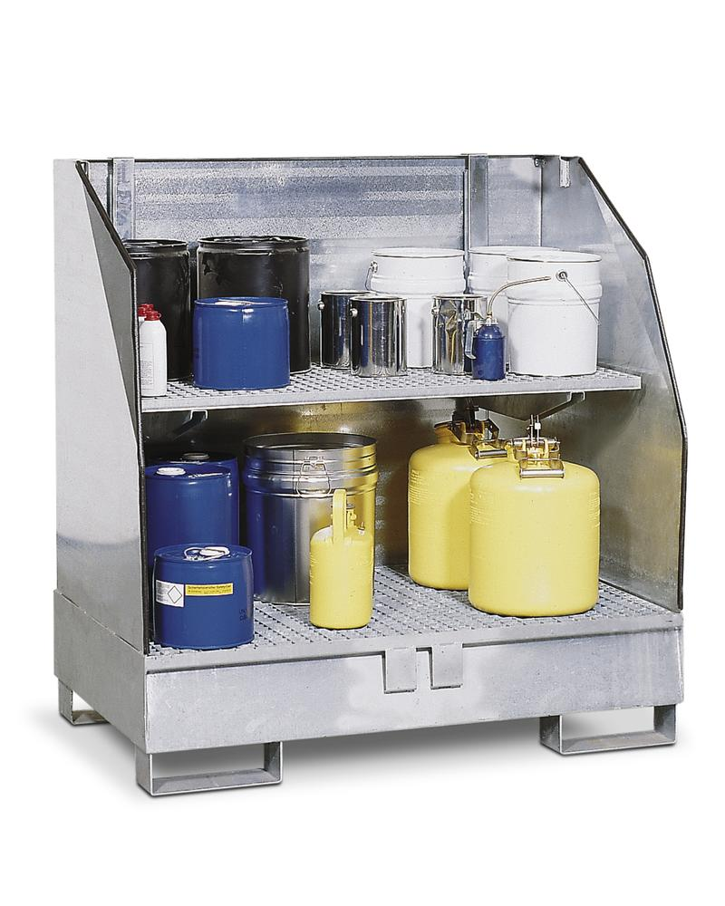HazMat station 2 GST-K in steel, galvanised with shelf for small containers,3-sided spray protection